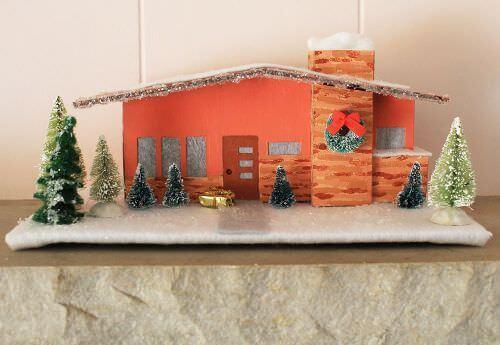 retro putz house christmas