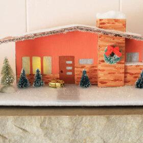 mid century modern putz house christmas