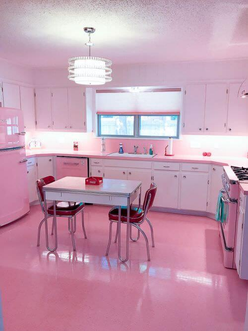 vintage pink kitchen renovation