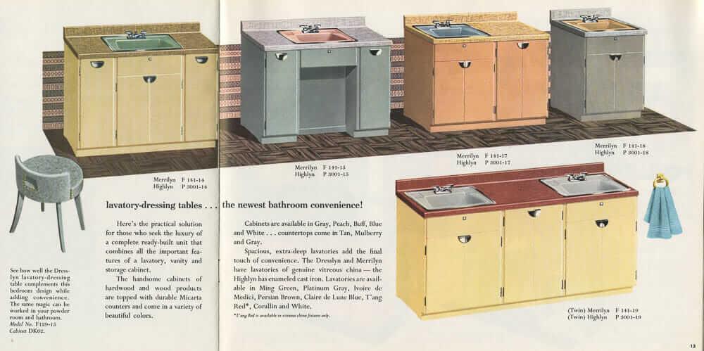 12 vintage bathroom sinks from American Standard in 1955 - Retro ...