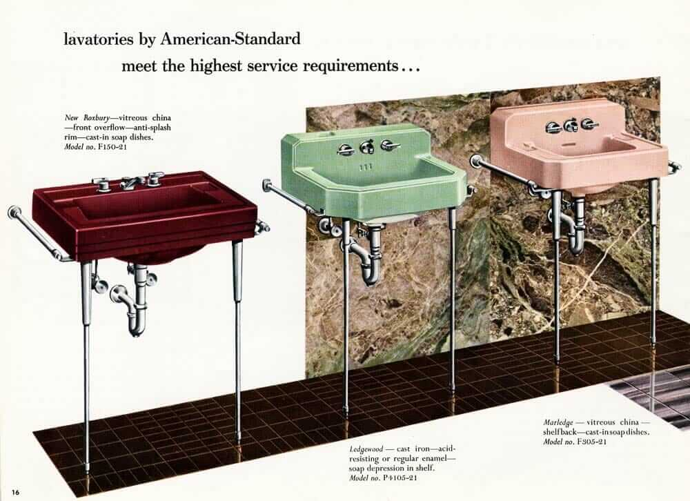 12 vintage bathroom sinks from American Standard in 1955 - Retro ...