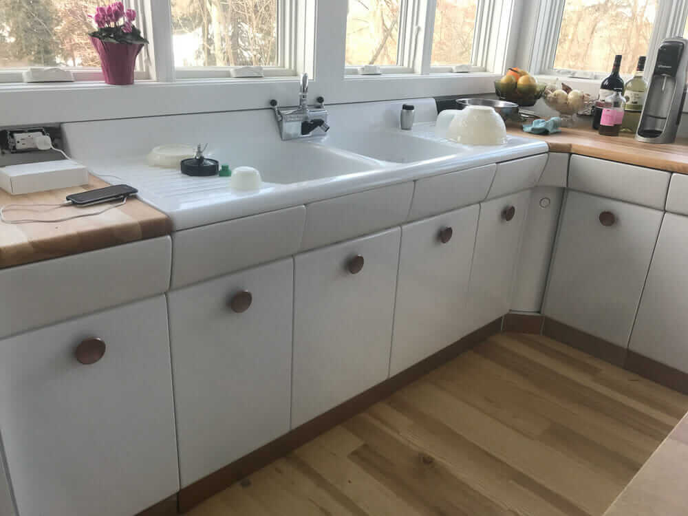 The Cast Steel Sink Was Powder Coated In Same White As Cabinets Faucet Is A Reproduction American Kitchens Found On Affiliate Link