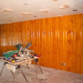 knotty pine wall paneling