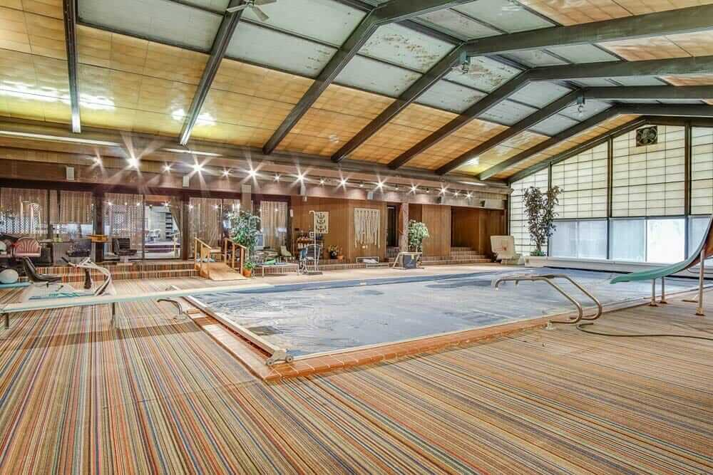 indoor outdoor carpet around indoor swimming pool