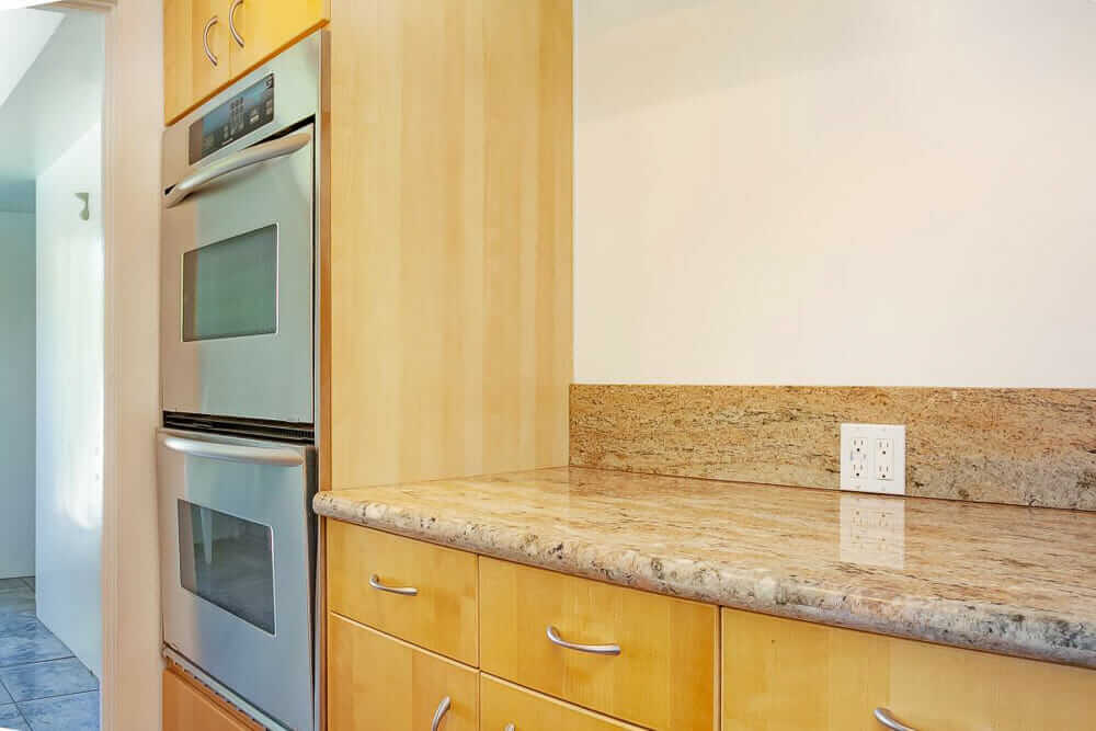 granite countertop in midcentury kitchen