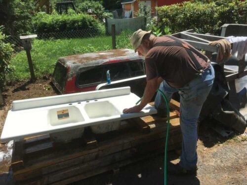 vintage drainboard sink salvage