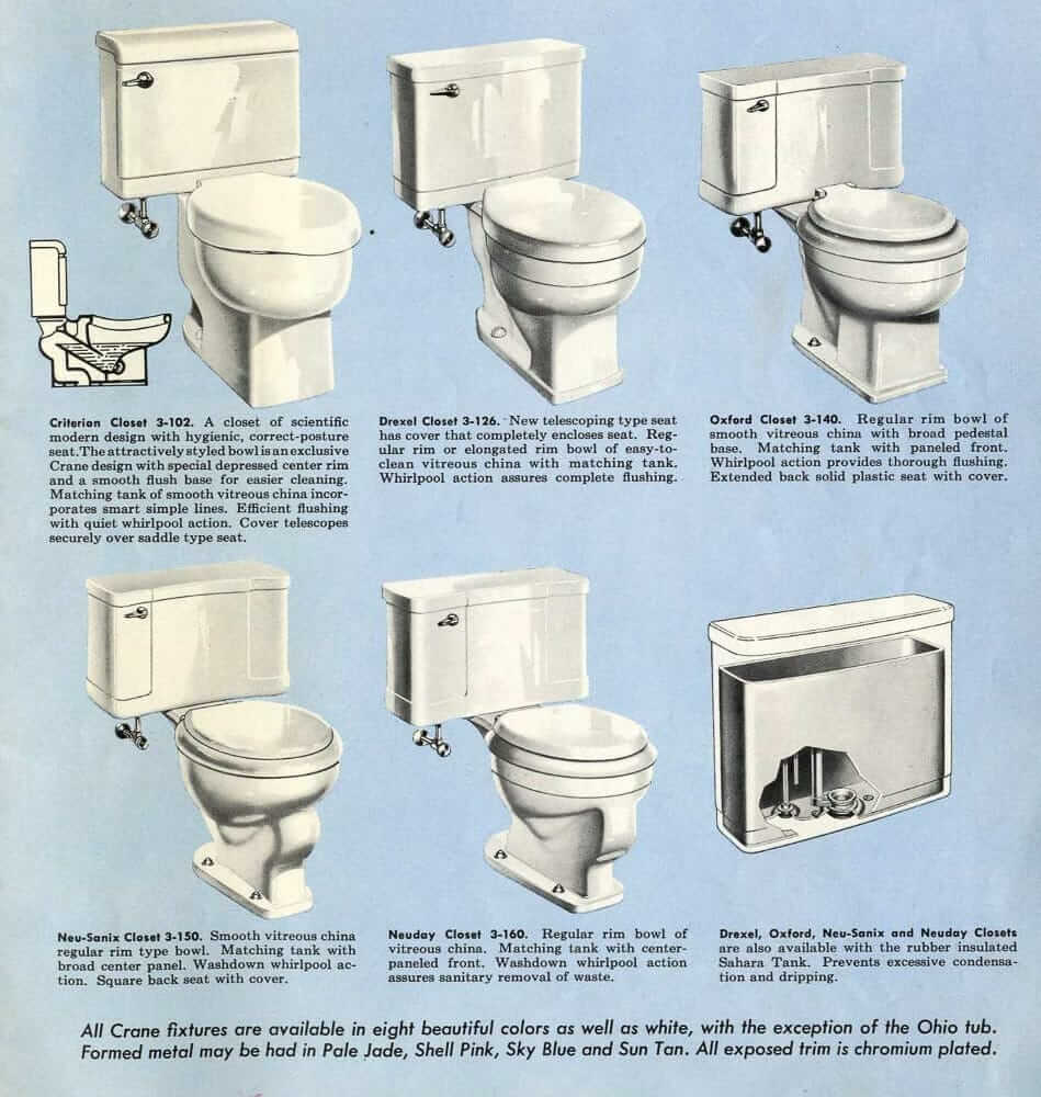 Crane vintage bathrooms sinks, tubs and toilets - catalog from 1954 ...