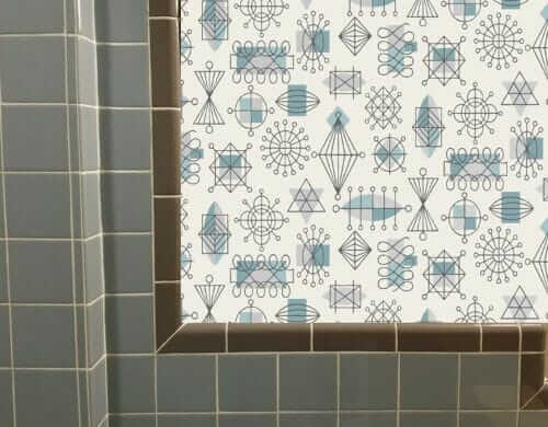 bradbury atomic doodle wallpaper in a bathroom