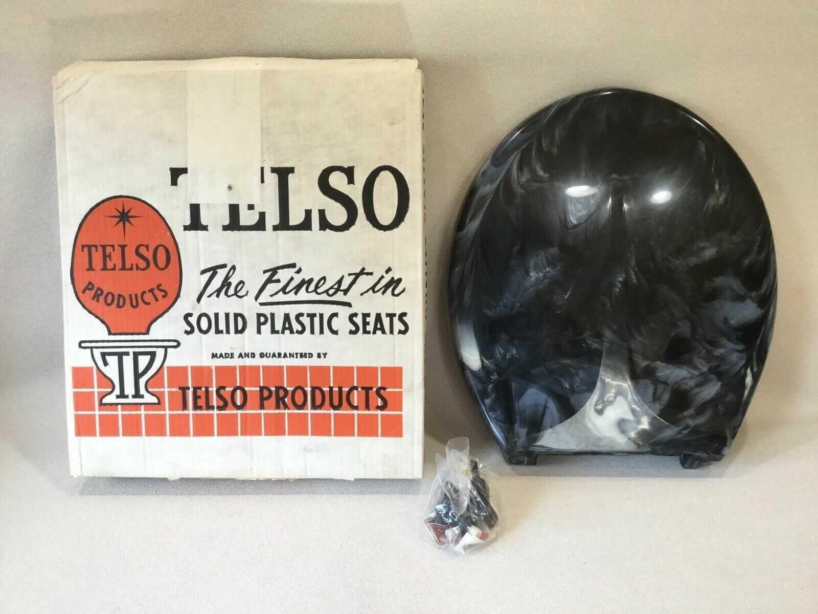 vintage toilet seat black marble