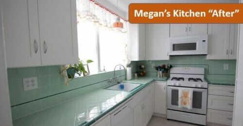 green tile kitchen countertop