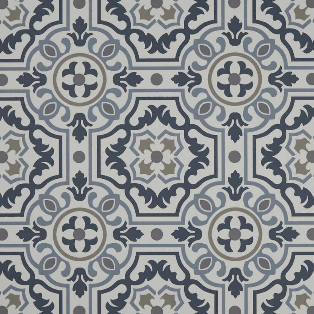 blue pattern vinyl floor