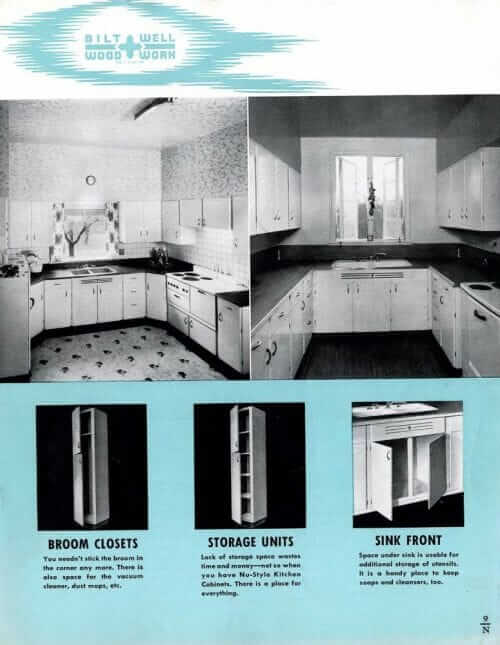 bilt-well wood wok kitchen cabinets from the 1940s