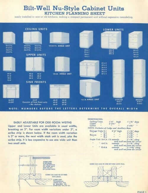 bilt-wel nu-style cabinet units planning sheet