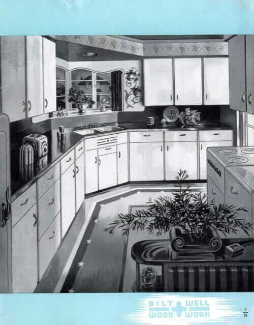 1940s white wood cabinets