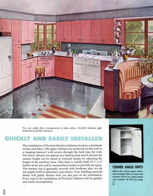 coral kitchen cabinets from the 1940s