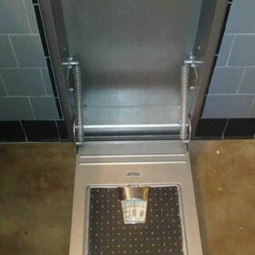 stainless steel paint on recessed bathroom scale