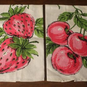 strawberry and cherry tea towels