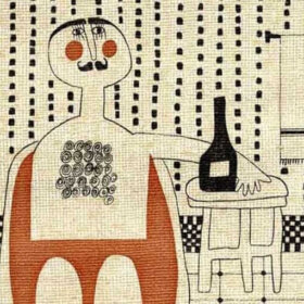 vintage wallpaper illustration with mustache man and wine