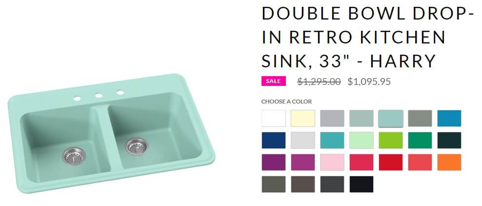 Kitchen and bathroom sinks in 30 colors - made new - Retro ...