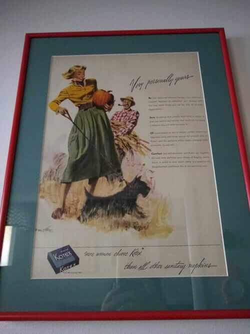 framed vintage magazine ads