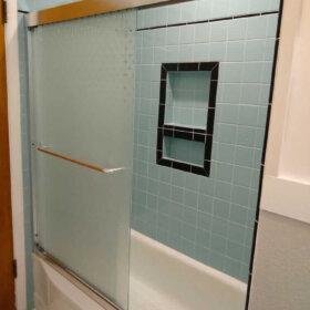 midcentury shower door
