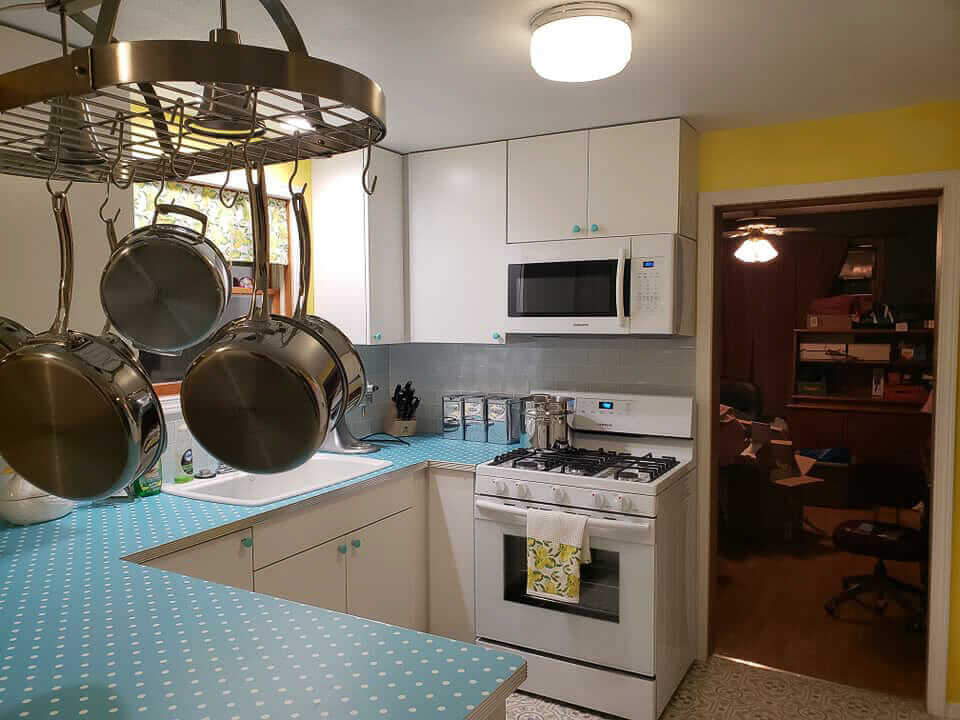 kitchen with pot rack