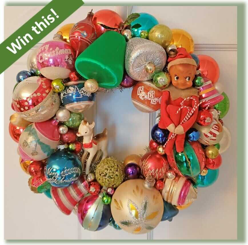 vintage christmas ornament wreath