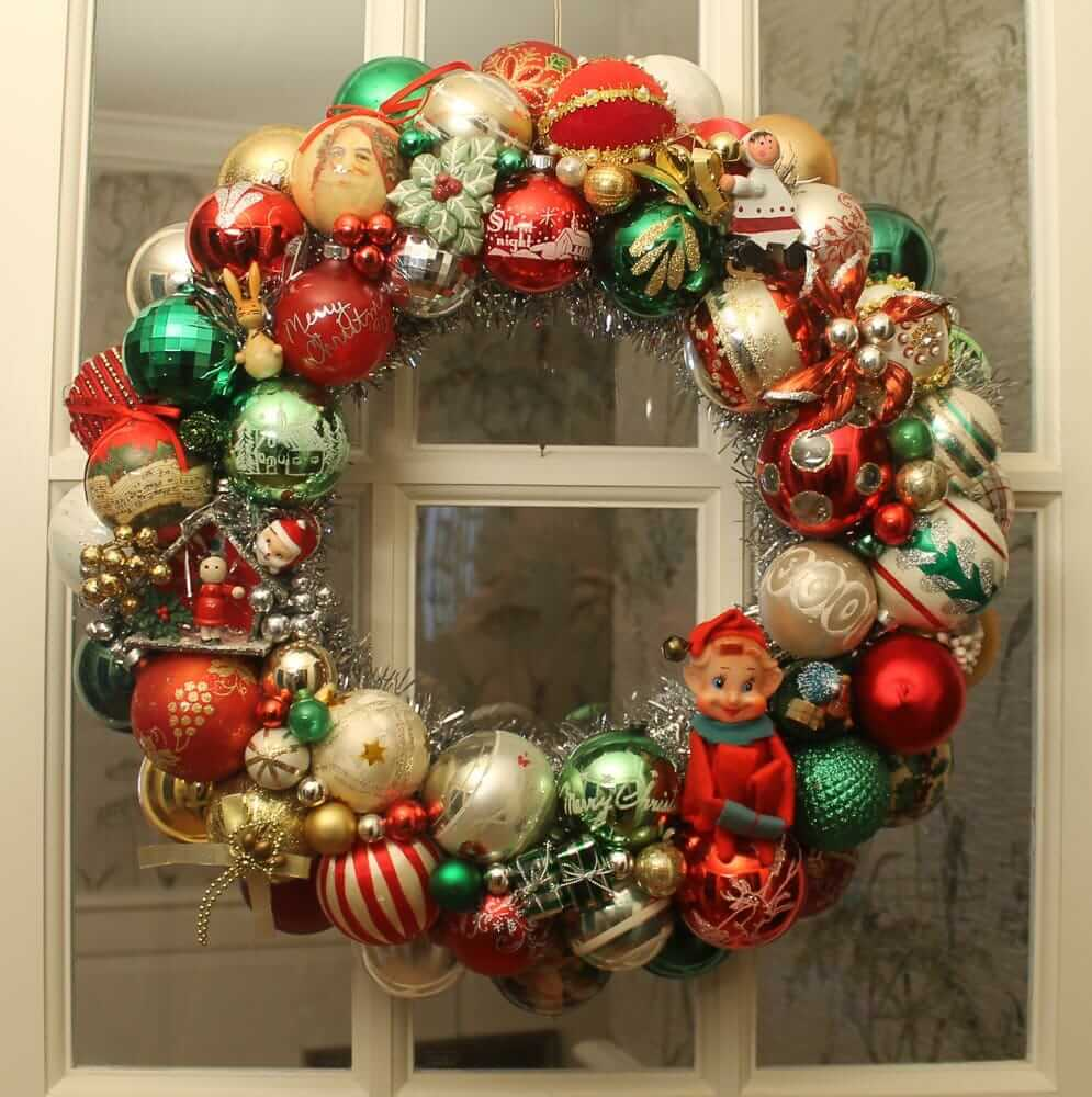 wreath made with vintage christmas ornaments