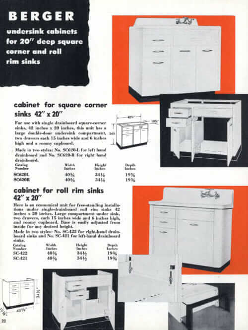 Berger Steel Cabinets for Kitchens - a catalog from 1949