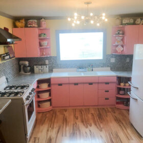 Pink kitchen retro remodel