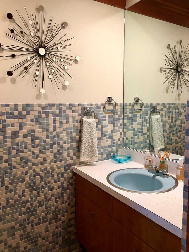 Mosaic bathroom tiles - 3 unique designs in Kim's 1962 house