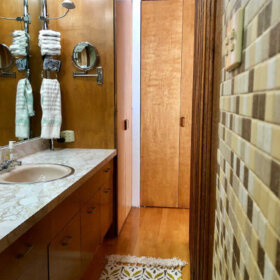 midcentury modern mosaic tile bathroom walls