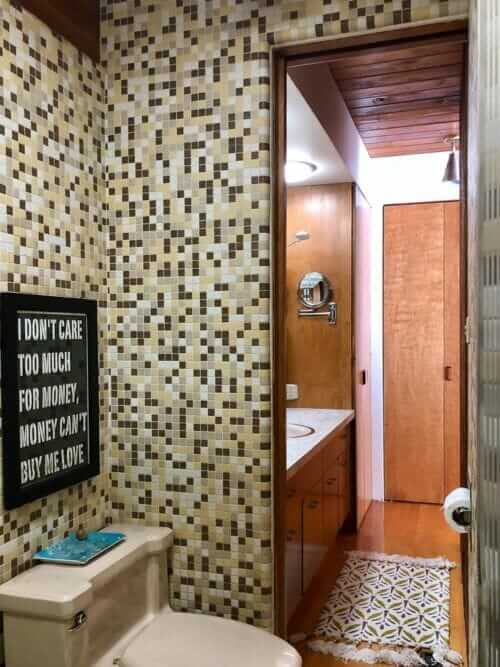 gold brown white mosaic tile
