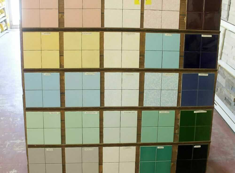 tile in retro colors for your mid century bathroom available from B&W tile