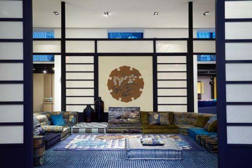 Kenzo Takada upholstery for Roche Bobois Mah Jong sofa in a room setting