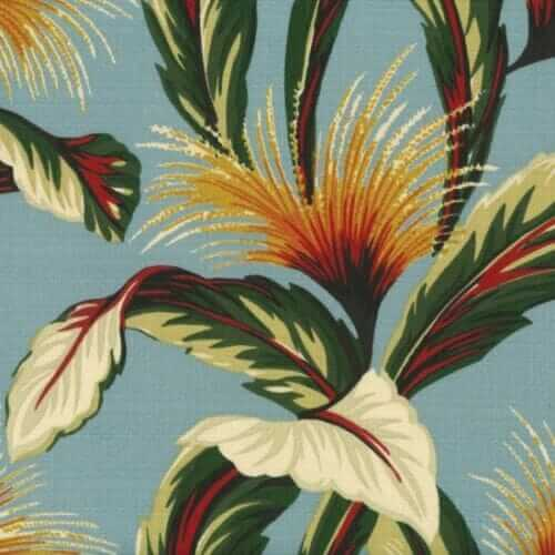 retro tropical barkcloth from hoffman fabrics in robin egg blue