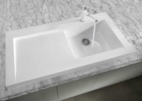 Blanco Modex modern sink with side drainboard in white