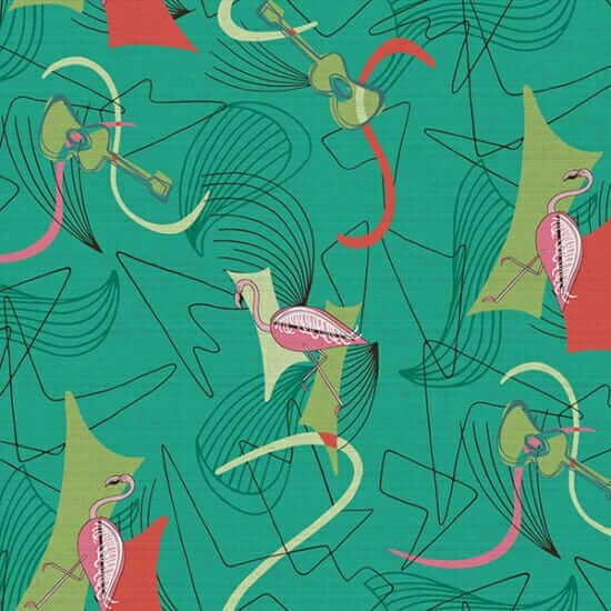 retro fabric with flamingos from hoffman fabrics