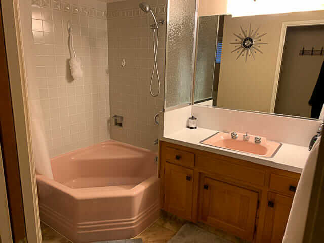 1964 cinderella bath tub pink with gray pomona tile