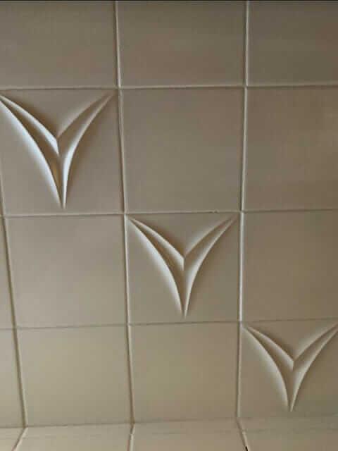 midcentury modern sculptural tile contours line