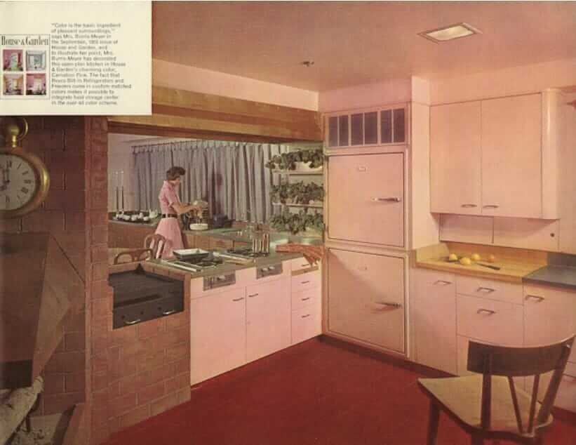 vintage revco refrigerator in a kitchen with st charles steel kitchen cabinets