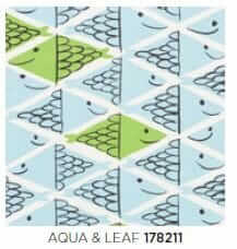 vera neuman fabric fish school by schumacher in aqua and leaf colorway