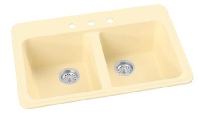 colored kitchen sink in 25 colors deck mount faucet design retro rh retrorenovation com  dark color kitchen sinks