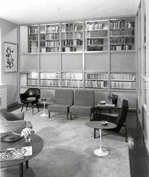midcentury modern library at winterthur 1967