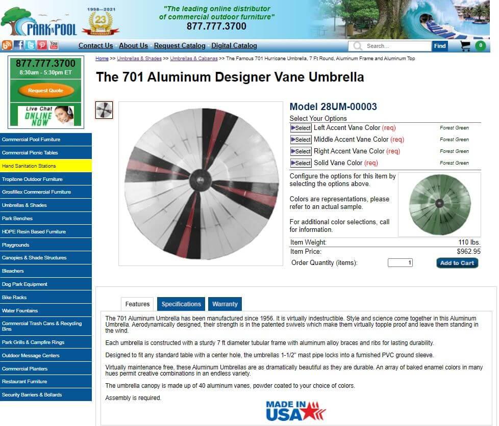 sundrella patio umbrella 701 at parknpool
