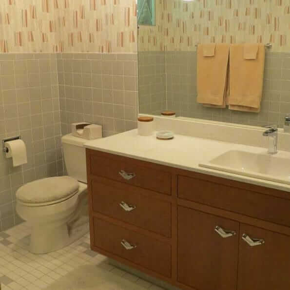 gray tile bathroom mid century modern style