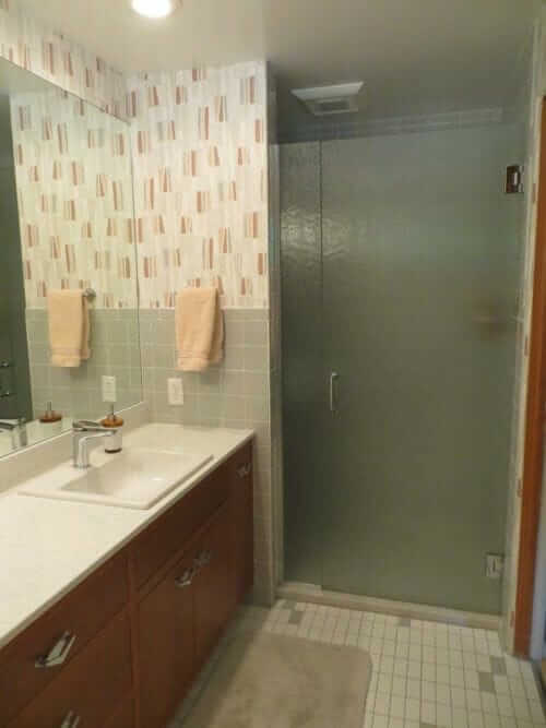 grey tile bathroom mid century modern
