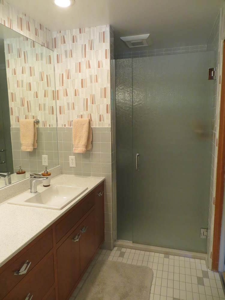 Retro Renovation & Lynne\u0027s Ice Grey Daltile bathroom remodel - lovely! - Retro Renovation