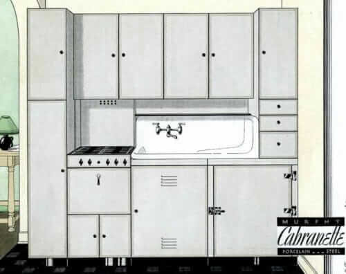 gray steel kitchen cabinets 1930s