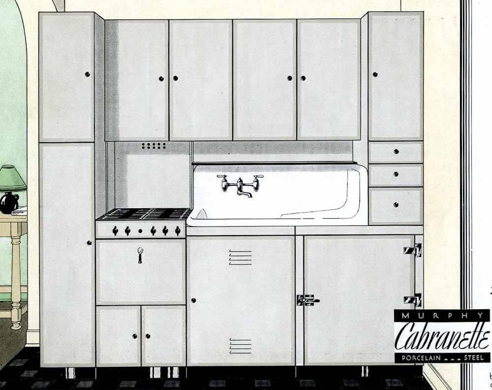 gray steel kitchen cabinets 1930s